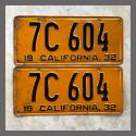 1932 California YOM License Plates For Sale - Original Pair 7C604