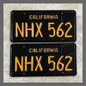 1963 California YOM License Plates For Sale - Restored Vintage Pair NHX562
