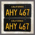 1963 California YOM License Plates For Sale - Restored Vintage Pair AHY467
