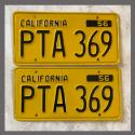 1956 California YOM License Plates For Sale - Restored Vintage Pair PTA369