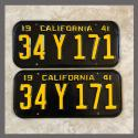 1941 California YOM License Plates For Sale - Restored Vintage Pair 34Y171