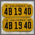 1940 California YOM License Plates For Sale - Restored Vintage Pair 4B1940