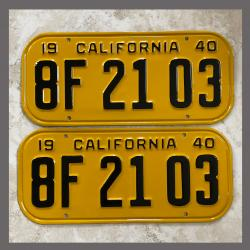 1940 California YOM License Plates For Sale - Restored Vintage Pair 8F2103