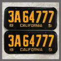 1951 California YOM License Plates For Sale - Restored Vintage Pair 3A64777