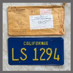 1970 - 1980 California YOM Trailer License Plate For Sale - Original Vintage LS1294 NOS