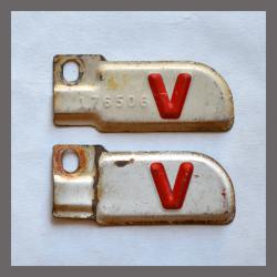 1943 V Original California YOM DMV License Plate Metal Corner Tags Pair