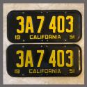 1951 California YOM License Plates For Sale - Original Vintage Pair 3A7403