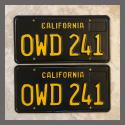1963 California YOM License Plates For Sale - Restored Vintage Pair OWD241