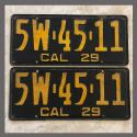 1929 California YOM License Plates For Sale - Original Vintage Pair 5W4511