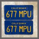 1970 - 1980 California YOM License Plates For Sale - Restored Vintage Pair 677MPU