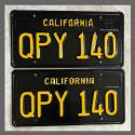 1963 California YOM License Plates For Sale - Restored Vintage Pair QPY140