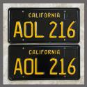 1963 California YOM License Plates For Sale - Restored Vintage Pair AOL216