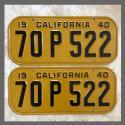 1940 California YOM License Plates For Sale - Original Vintage Pair 70P522