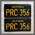 1963 California YOM License Plates For Sale - Restored Vintage Pair PRC356