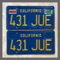 1970 - 1979 California YOM License Plates For Sale - Original Vintage Pair 431JUE