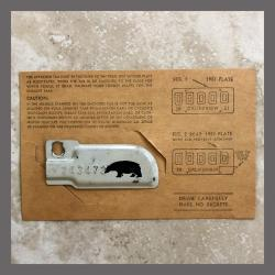 1944 Bear Original California YOM DMV License Plate Metal Corner Tag