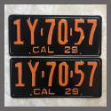 1929 California YOM License Plates For Sale - Restored Vintage Pair 1Y7057