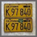 1956 California YOM License Plates For Sale - Original Vintage Pair K97840Truck
