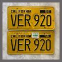 1956 California YOM License Plates For Sale - Original Vintage Pair VER920
