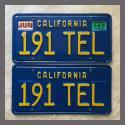 1970 - 1980 California YOM License Plates For Sale - Original Vintage Pair 191TEL