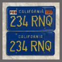 1970 - 1980 California YOM License Plates For Sale - Original Vintage Pair 234RNQ
