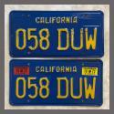 1970 - 1980 California YOM License Plates For Sale - Original Vintage Pair 058DUW