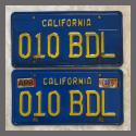 1970 - 1980 California YOM License Plates For Sale - Original Vintage Pair 010BDL