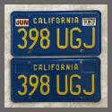 1970 - 1980 California YOM License Plates For Sale - Original Vintage Pair 398UGJ