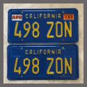 1970 - 1980 California YOM License Plates For Sale - Original Vintage Pair 498ZON