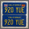 1970 - 1979 California YOM License Plates For Sale - Original Vintage Pair 920YUE