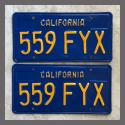 1970 - 1980 California YOM License Plates For Sale - Repainted Vintage Pair 559FYX
