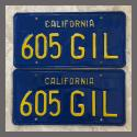 1970 - 1980 California YOM License Plates For Sale - Repainted Vintage Pair 605GIL