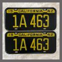 1942 California YOM License Plates For Sale - Repainted Vintage Pair 1A463
