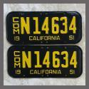 1951 California YOM License Plates For Sale - Repainted Vintage Pair N14634 Truck