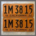 1932 California YOM License Plates For Sale - Restored Vintage Pair 1M3815