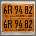 1932 California YOM License Plates For Sale - Restored Vintage Pair 6R9482