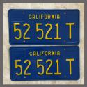 1970 - 1980 California YOM License Plates Pair Original 52521T Truck NOS