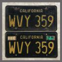 1963 California YOM License Plates For Sale - Original Vintage Pair WVY359