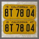 1947 California YOM License Plates For Sale - Restored Vintage Pair 8T7804