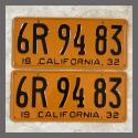 1932 California YOM License Plates For Sale - Restored Vintage Pair 6R9483
