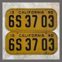 1940 California YOM License Plates For Sale - Original Vintage Pair 6S3703