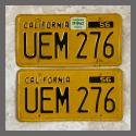 1956 California YOM License Plates For Sale - Original Vintage Pair UEM276