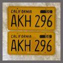1956 California YOM License Plates For Sale - Restored Vintage Pair AKH296