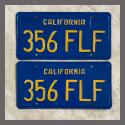 1970 - 1980 California YOM License Plates For Sale - Restored Vintage Pair 356FLF