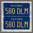 1970 - 1980 California YOM License Plates For Sale - Restored Vintage Pair 580DLM