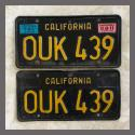 1963 California YOM License Plates For Sale - Original Vintage Pair OUK439