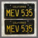 1963 California YOM License Plates For Sale - Original Vintage Pair MEV535