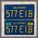 1970 - 1980 California YOM License Plates For Sale - Original Vintage Pair 577EIB