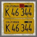 1956 California YOM License Plates For Sale - Original Vintage Pair K46344 Truck