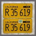 1956 California YOM License Plates For Sale - Original Vintage Pair  Truck